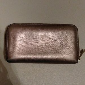 Fossil Metallic Zip Around Wallet